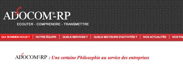 Next Level Com met en ligne le nouveau site de l'agence de relations publiques Adocom-RP